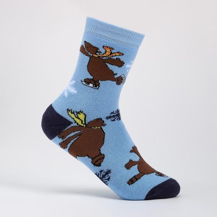 Носки детские махровые, цвет голубой, размер 22-24
