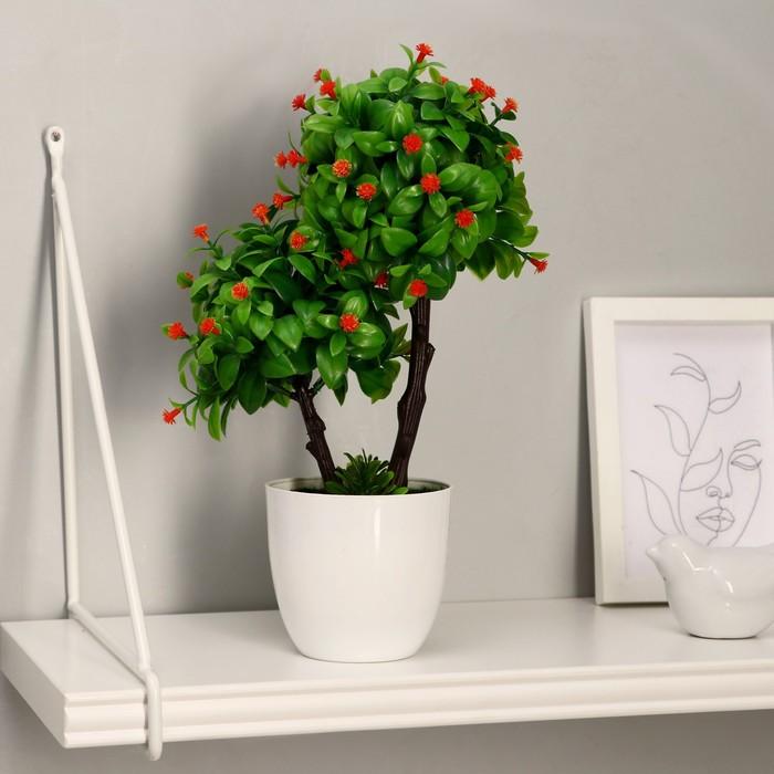 """Бонсай """"Деревце двойное с цветами"""" 15*26 см, микс"""
