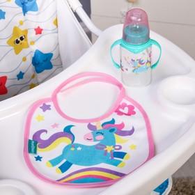 Подарочный детский набор «Волшебная пони»: бутылочка для кормления 150 мл + нагрудник детский непромокаемый из махры Ош