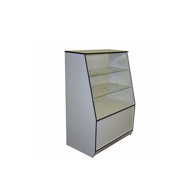 Витрина 900*550*1300, 2 стеклянные полки, цвет белый с чёрной кромкой