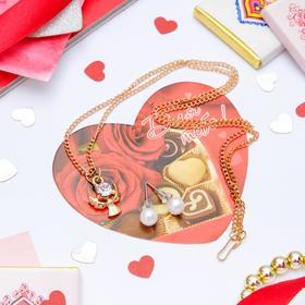 Гарнитур+открытка 2 предмета: серьги, кулон 'Ангел', цвет белый в золоте, 43см Ош