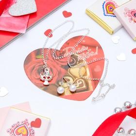 Гарнитур+открытка 2 предмета: серьги, кулон 'Ангел', цвет белый в серебре, 43см Ош