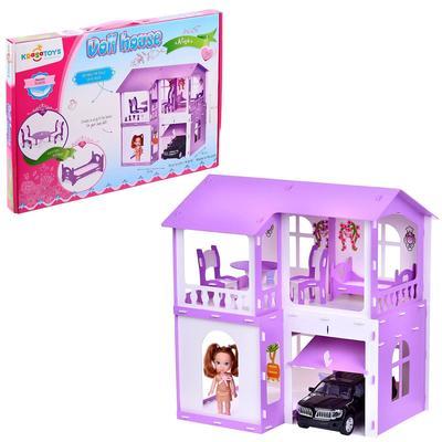 Домик для кукол «Дом Алиса» с мебелью, цвет бело-сиреневый - Фото 1