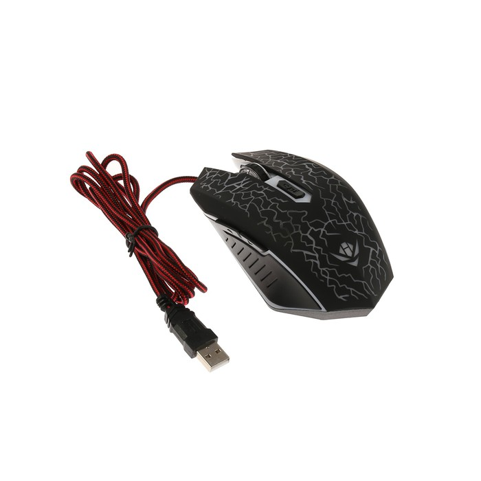 Мышь Nakatomi MOG-15U Gaming, игровая, проводная, 6 кнопок, подсветка, 2400 dpi, USB, чёрная