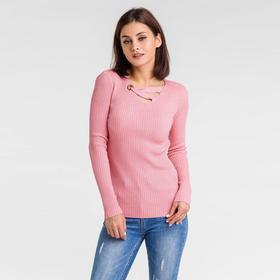 Пуловер с люрексом шнуровка спереди, размер 42, цвет розовый Ош