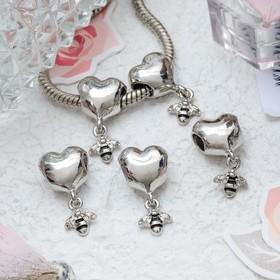 Талисман 'Сердце' с пчелкой, цвет серебро Ош