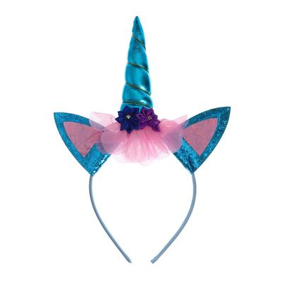 Карнавальный ободок «Единорог», цвет голубой - Фото 1