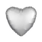 """Шар фольгированный 5"""" """"Сердце"""" с клапаном, матовый, цвет серебряный"""