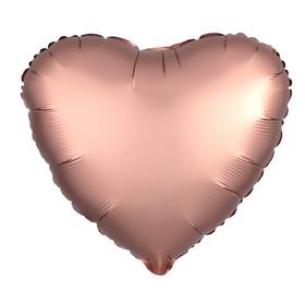 Шар фольгированный 5' «Сердце» с клапаном, матовый, цвет розовое золото Ош