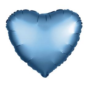 Шар фольгированный 5' «Сердце» с клапаном, матовый, цвет синий Ош