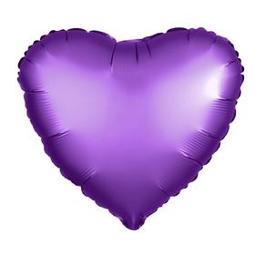 Шар фольгированный 5' «Сердце» с клапаном, матовый, цвет фиолетовый Ош
