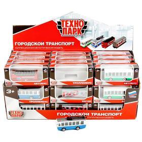 Машина металлическая: 2-эт. Автобус/Вагон РЖД/Троллейбус/Автобус, 7,5 см, МИКС