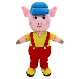 Мягкая музыкальная игрушка «Поросёнок» в комбинезоне и кепке, 26 см