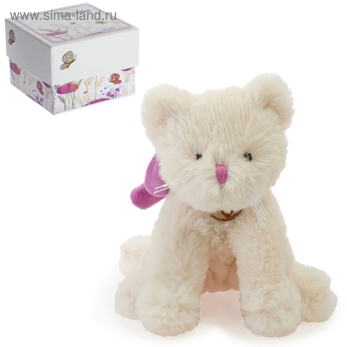 Мягкая игрушка «Кот», цвет белый/фиолетовый, 15 см