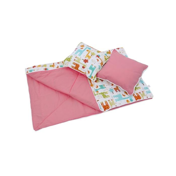 Комплект для вигвама: одеяло-110х140 см, наволочка-40х40 см-2 шт, розовый, жираф