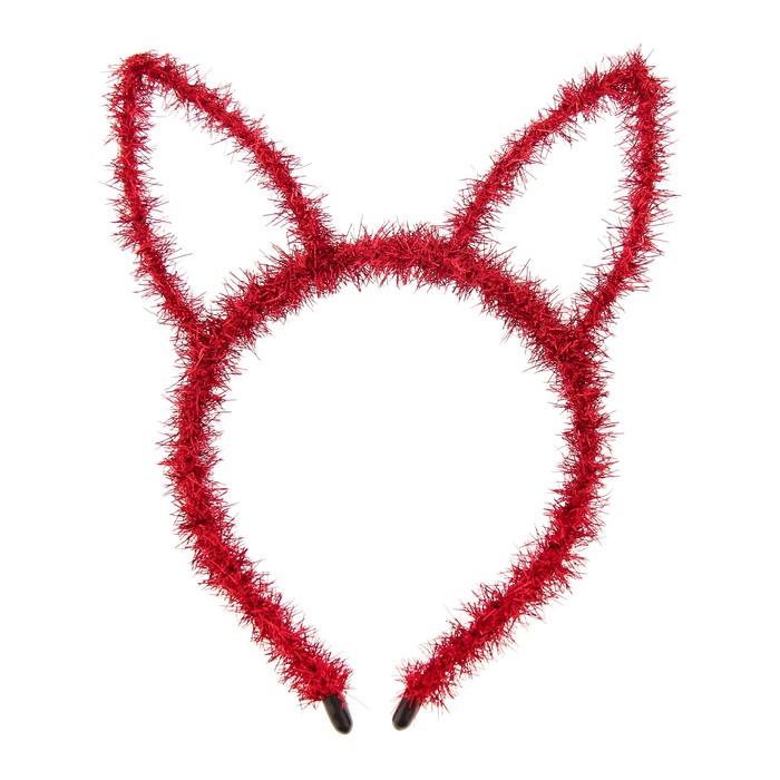 Карнавальный ободок Зайка, цвет красный