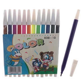 Фломастеры, 12 цветов, в PVC пакете, невентилируемый колпачок, «Зверюшки»