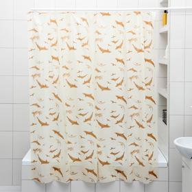 Штора для ванной комнаты «Дельфины», 180×180 см, полиэтилен, цвет бежевый Ош