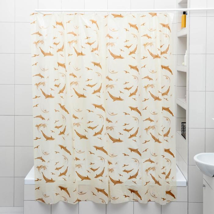 Штора для ванной комнаты Дельфины, 180180 см, полиэтилен, цвет бежевый