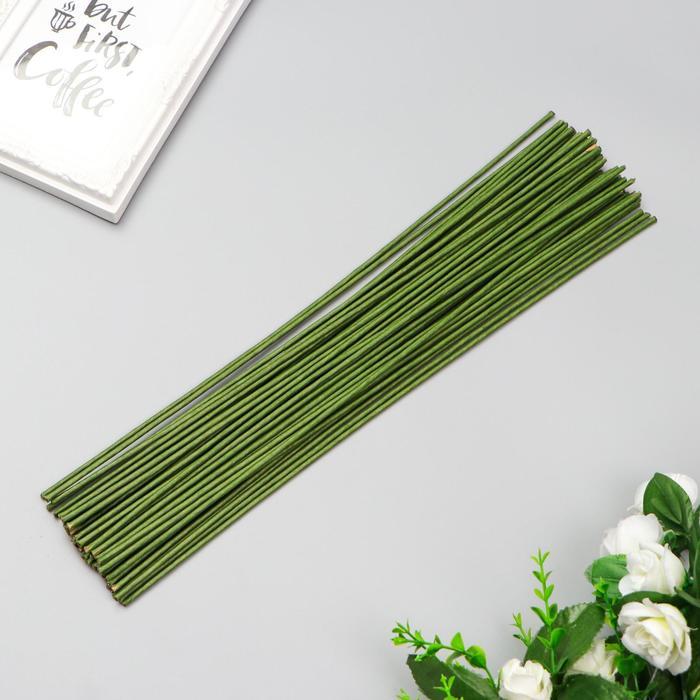 Проволока для изготовления искусственных цветов Зелёная 40 см сечение 2,5 мм