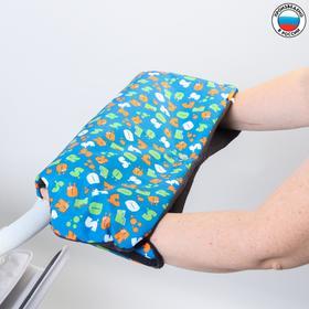 Муфта для рук на санки или коляску меховая, на кнопках, с рисунком Ош