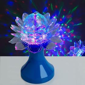 Световой прибор хрустальный шар 'Цветок' диаметр 12,5 см, 220 В, СИНИЙ Ош