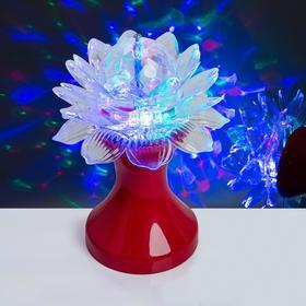 Световой прибор хрустальный шар 'Цветок' диаметр 12,5 см, 220 В, КРАСНЫЙ Ош