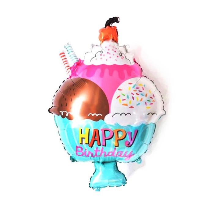 Шар фольгированный 14 С днём рождения, креманка мороженого, мини