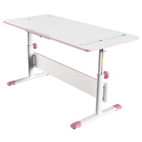 Растущая парта-трансформер Polini kids City D2, 120 × 55 см, цвет белый/розовый Ош