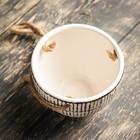 Кашпо керамическое подвесное белое 10*10*8 см - Фото 3