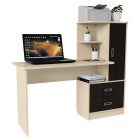 Стол компьютерный Альянс 9, 1450х520х1250, Дуб молочный/Венге