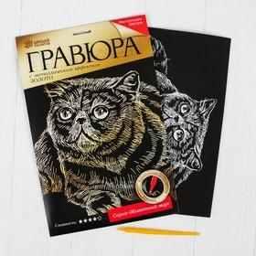 Гравюра «Кот снупи» с металлическим эффектом золота А4 Ош