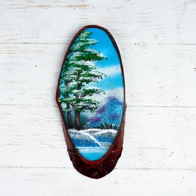 Панно на спиле 'Зима', 27-31 см, каменная крошка, вертикальное Ош