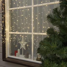 """Гирлянда """"Занавес"""" уличная, УМС, 2 х 1.5 м, 3W LED(SMD-SB)-360-220V, нить белая, свечение тёплое белое"""