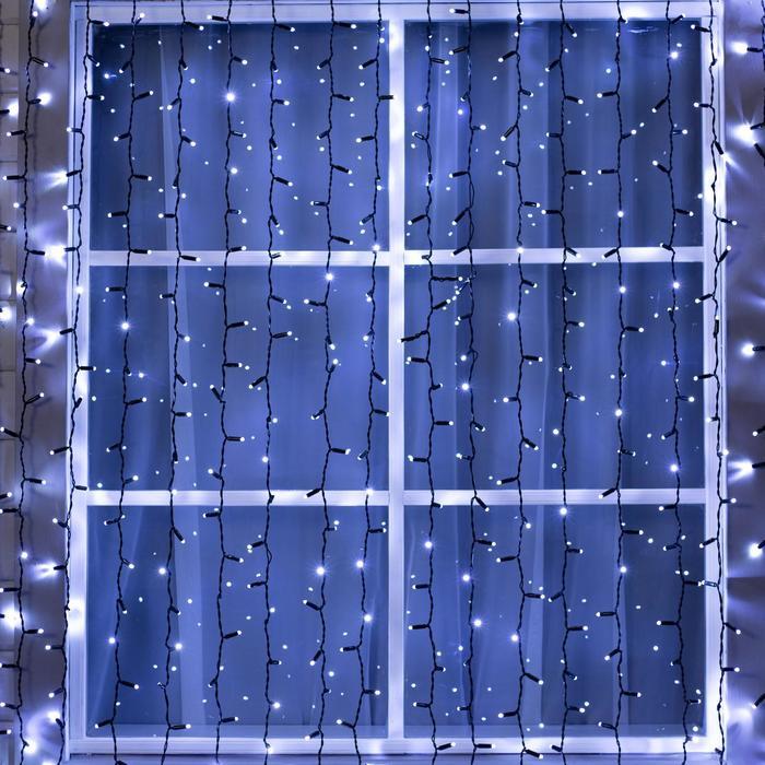 """Гирлянда """"Занавес"""" уличная, УМС, 2 х 3 м, 3W LED(IP65)-760-220V, нить тёмная, свечение белое"""