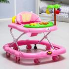 Ходунки «Пальма», 7 силик. колес, муз., игрушки, розовый