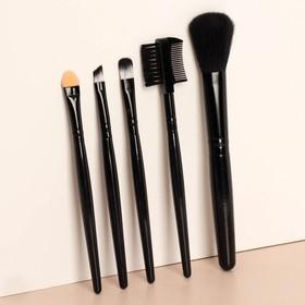 Набор кистей для макияжа, 5 предметов, цвет чёрный