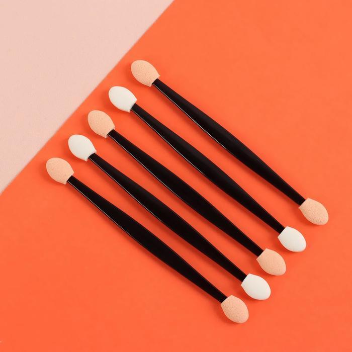 Набор аппликаторов для теней, двусторонние, 5 шт, 11 см, цвет чёрный