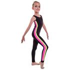 Лосины гимнастические «Плеяда», размер 32, цвет чёрный - розовый - лимон