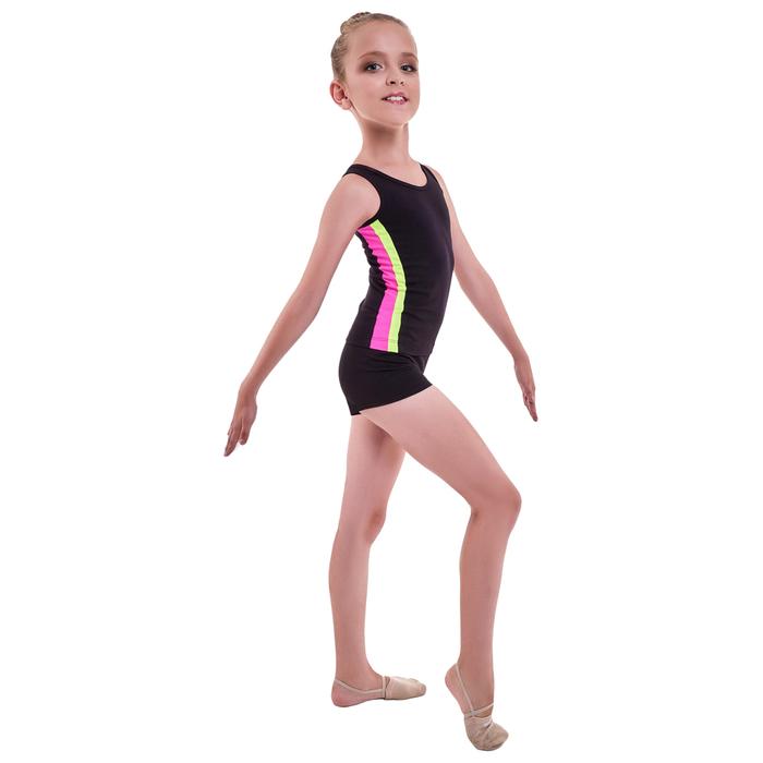 Майка гимнастическая «Плеяда», размер 34, цвет чёрный/розовый/лимон