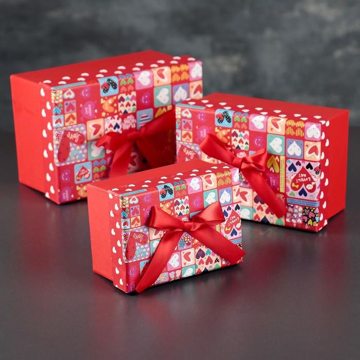 Набор коробок прямоугольная 3 в 1 Сердца, 15,5 х 11 х 8 - 11 х 8 х 6 см