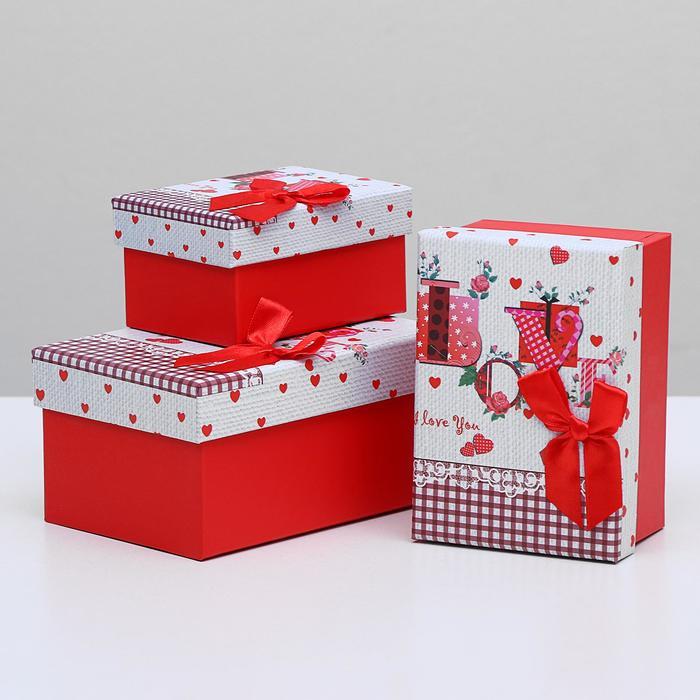 Набор коробок прямоугольная 3 в 1 Любовь, 15,5 х 11 х 8 - 11 х 8 х 6 см