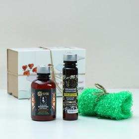 Подарочный набор на 14 февраля «Сладкий поцелуй»: гель для душа, мужской шампунь, мочалка Ош