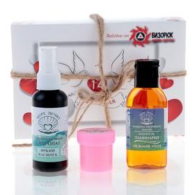 Подарочный набор на 14 февраля «Нежное мгновение»: масло водорастворимое, гиалуроновый гидролат, масло ши Ош
