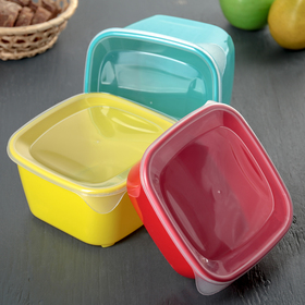 Набор контейнеров квадратных, 3 шт: 0,8 л, 1,2 л, 1,6 л, цвет МИКС