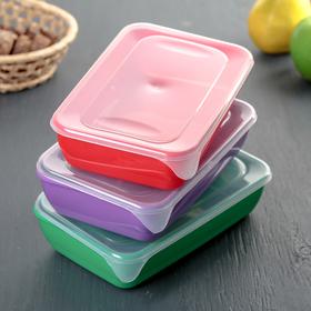 Набор контейнеров прямоугольных Clever's, 0,9 л, 3 шт, цвет МИКС