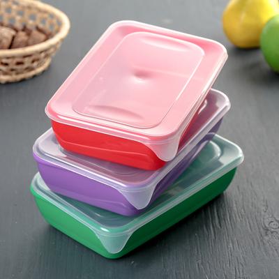 Набор контейнеров прямоугольных 0,9 л, 3 шт, цвет МИКС - Фото 1