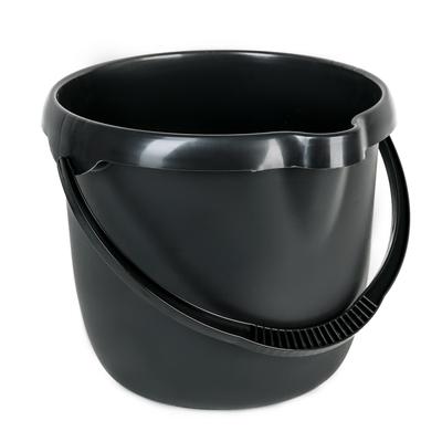 Ведро с мерной шкалой 12 л, цвет чёрный - Фото 1