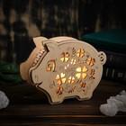 """Соляная лампа из дерева """"Хрюша"""" 6,5 см × 19,5 см × 15 см"""