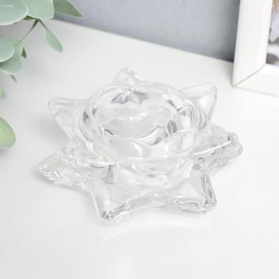 "Подсвечник стекло на 1 свечу ""Лотос"" прозрачный 4,5х8,3х8,3 см - Фото 1"